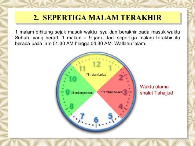 2. SEPERTIGA MALAM TERAKHIR2. SEPERTIGA MALAM TERAKHIR 1 malam dihitung sejak masuk waktu Isya dan berakhir pada masuk wak...