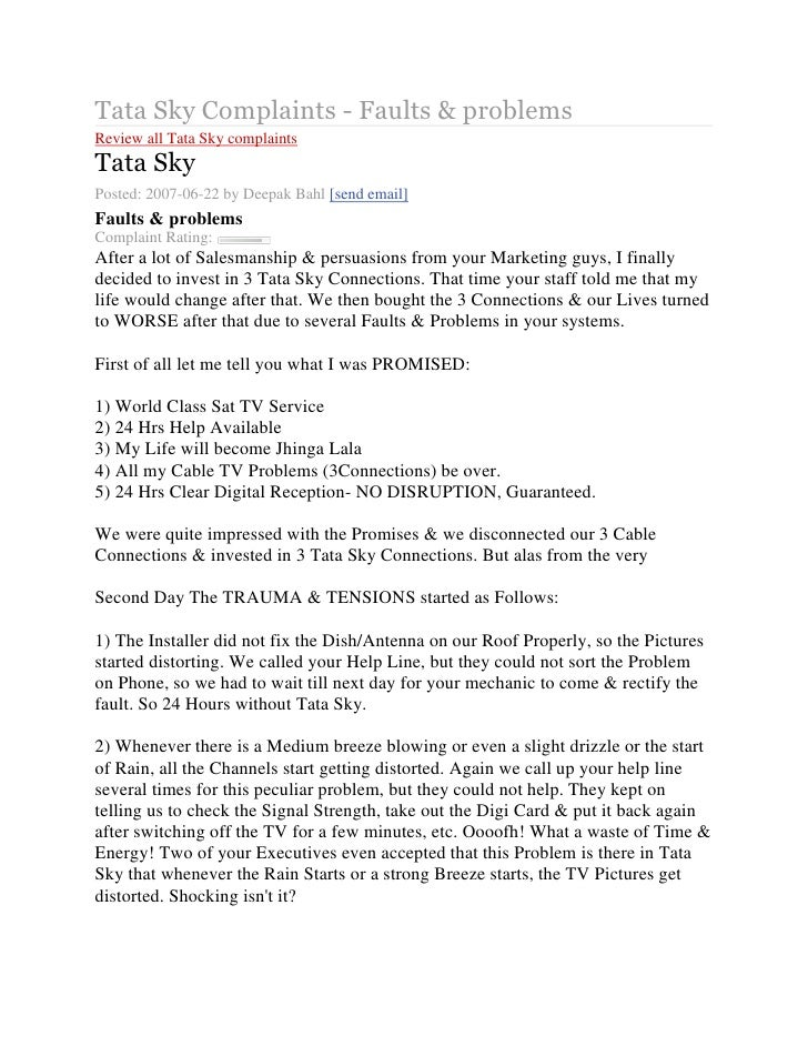 Tata Sky Complaints - Faults & problemsReview all Tata Sky complaintsTata SkyPosted: 2007-06-22 byDeepak Bahl[send email...