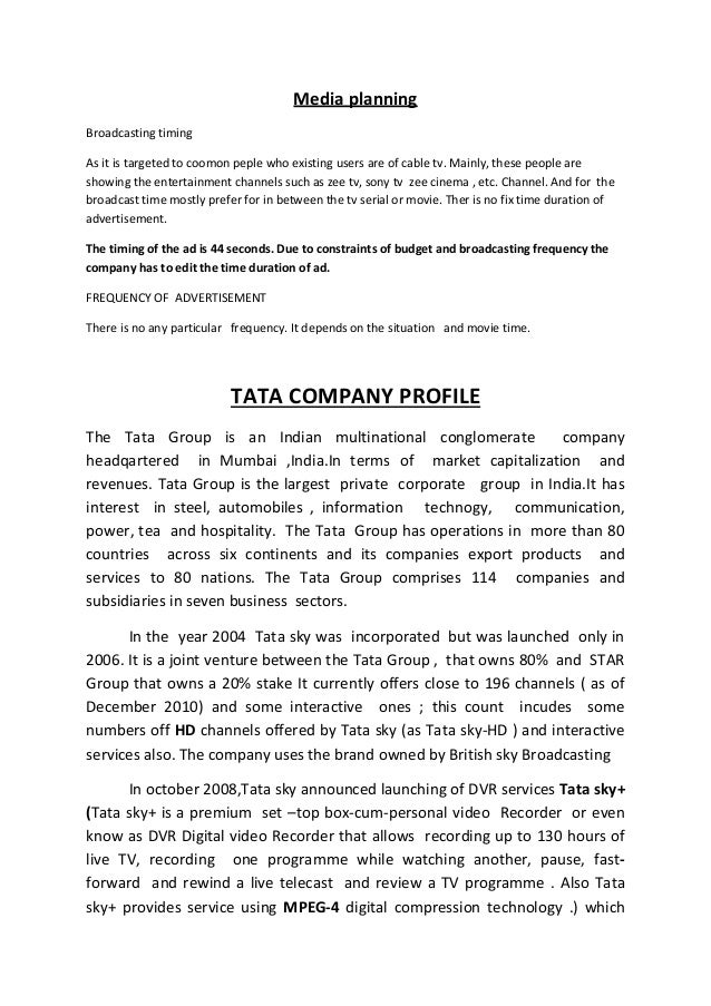 A PROJECT REPORT ON BETWEEN TATA SKY AND DISH TV