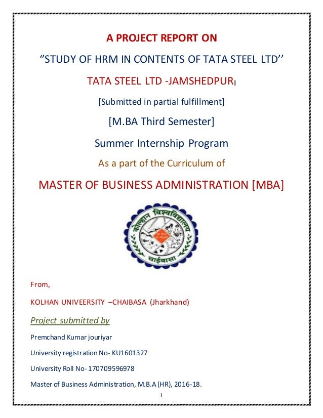 Tata steel summer internship projeect