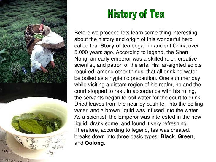 History of Tea<br />Before we proceed lets learn some thing interesting about the history and origin of this wonderful her...