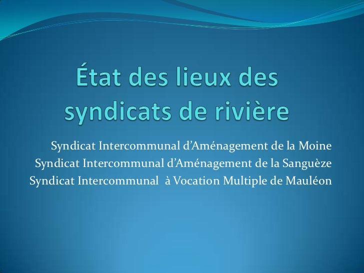 Syndicat Intercommunal d'Aménagement de la Moine Syndicat Intercommunal d'Aménagement de la SanguèzeSyndicat Intercommunal...