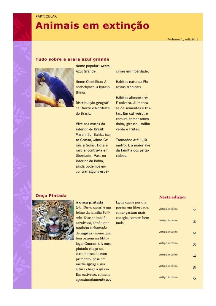 PARTICULARAnimais em extinção                                                                        Volume 1, edição 1Tud...