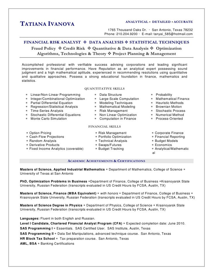 TATIANA IVANOVA ANALYTICAL ...  Quantitative Analyst Resume
