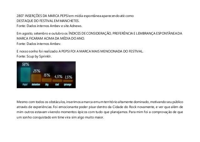 2807 INSERÇÕES DA MARCA PEPSI em mídia espontânea aparecendo até como DESTAQUE DO FESTIVAL EM MANCHETES. Fonte: Dados inte...