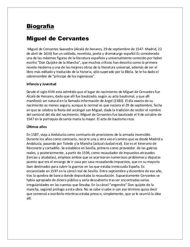 Biografía Miguel de Cervantes Miguel de Cervantes Saavedra (Alcalá de henares, 29 de septiembre de 1547- Madrid, 22 de abr...