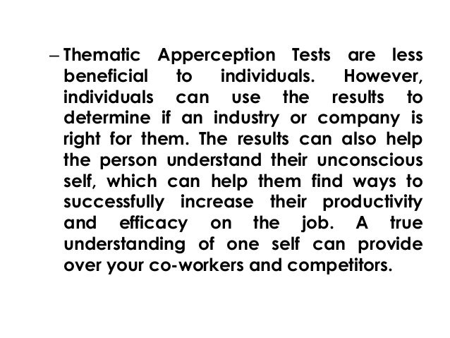 Tat test results. What Is the Thematic Apperception Test
