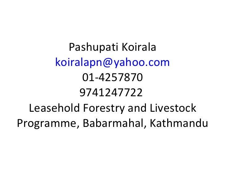 Pashupati Koirala [email_address] 01-4257870 9741247722  Leasehold Forestry and Livestock Programme, Babarmahal, Kathmandu
