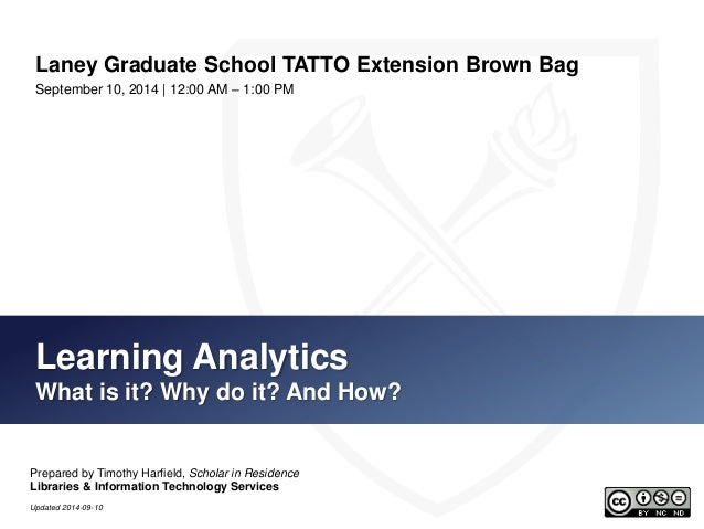 Laney Graduate School TATTO Extension Brown Bag  September 10, 2014 | 12:00 AM – 1:00 PM  Learning Analytics  What is it? ...