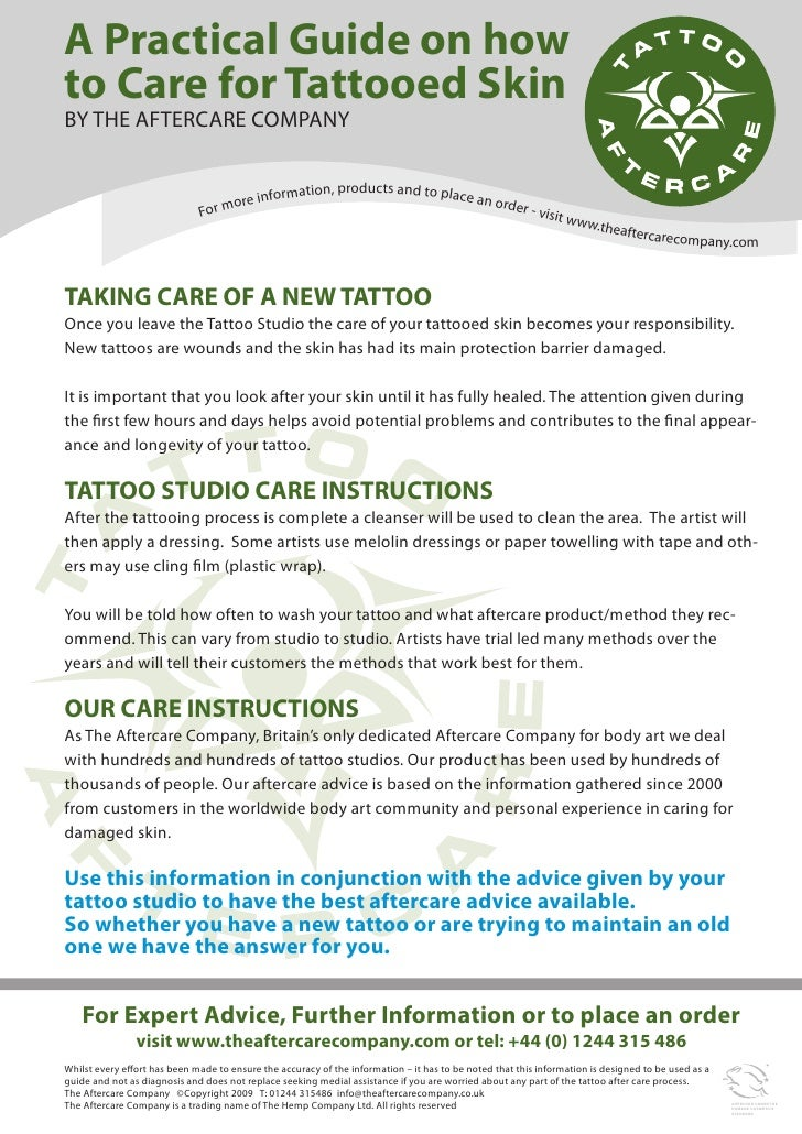 Tattoo Aftercare Care Guide