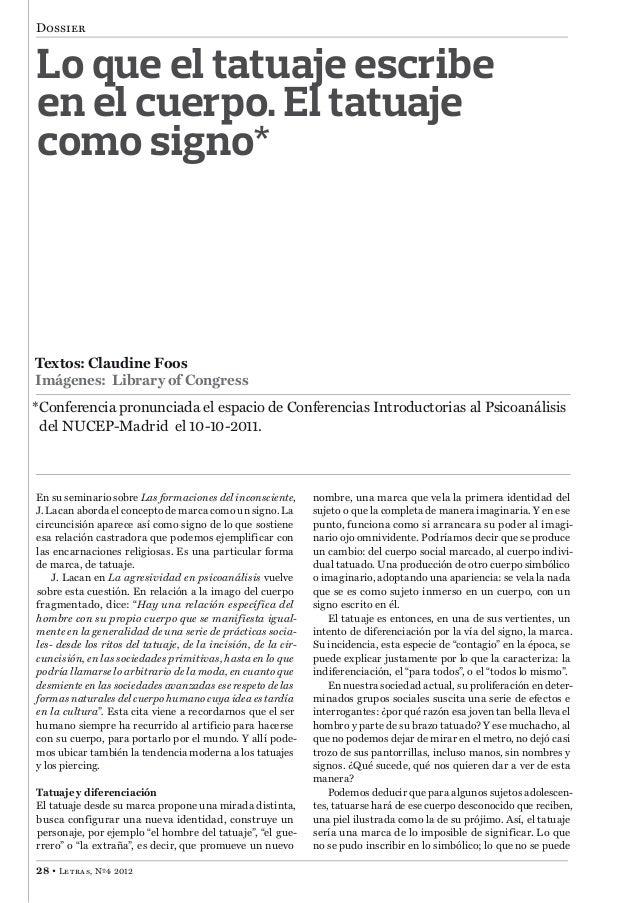 Dossier 28 • Letras, Nº4 2012 Textos: Claudine Foos Imágenes: Library of Congress *Conferencia pronunciada el espacio de C...