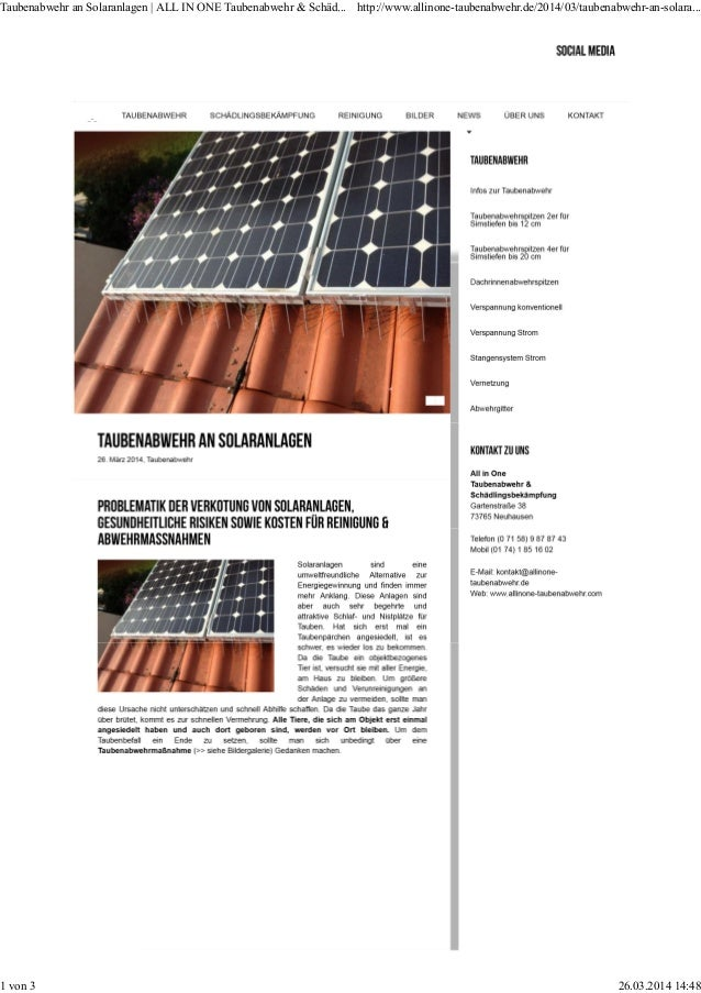 Taubenabwehr an Solaranlagen | ALL IN ONE Taubenabwehr & Schäd... http://www.allinone-taubenabwehr.de/2014/03/taubenabwehr...