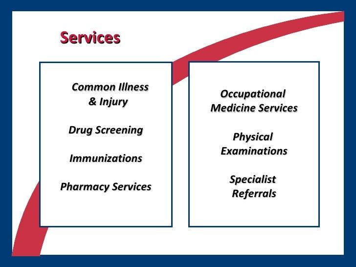 Services <ul><ul><li>Common Illness  </li></ul></ul><ul><ul><li>& Injury </li></ul></ul><ul><li>Drug Screening </li></ul><...