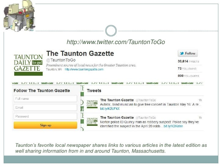 http://www.twitter.com/TauntonToGoTaunton's favorite local newspaper shares links to various articles in the latest editio...