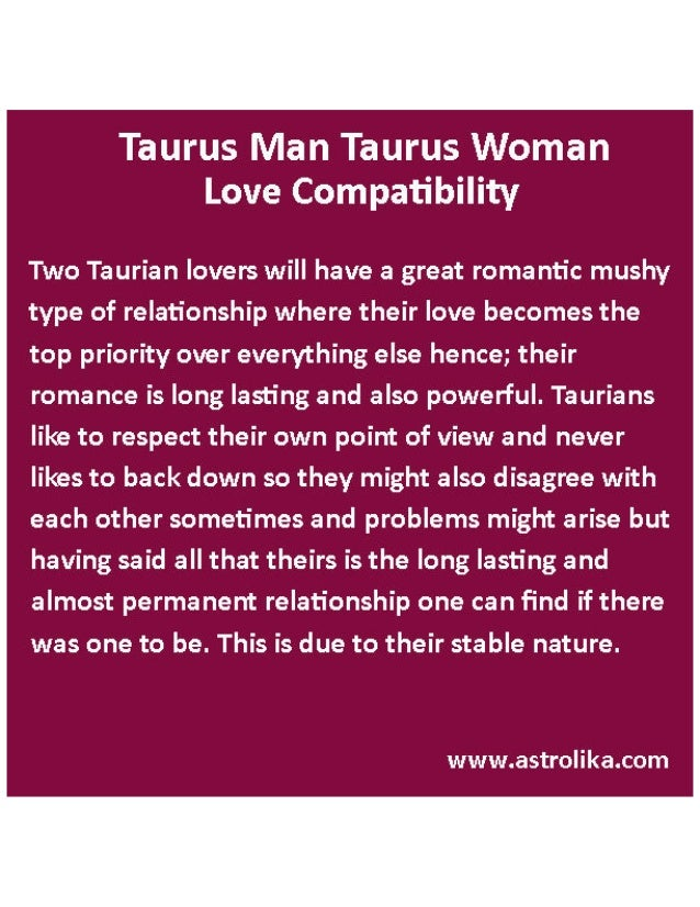 Taurus Man Taurus Woman Love Compatibility Attraction Horoscope