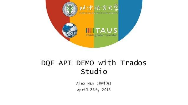 DQF API DEMO with Trados Studio Alex Han (韩林涛) April 26th, 2016