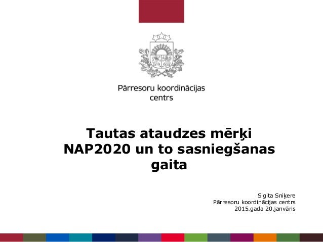 Tautas ataudzes mērķi NAP2020 un to sasniegšanas gaita Sigita Sniķere Pārresoru koordinācijas centrs 2015.gada 20.janvāris