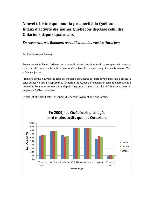 Nouvelle historique pour la prospérité du Québec : le taux d'activité des jeunes Québécois dépasse celui des Ontariens dep...