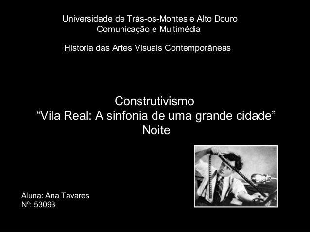Universidade de Trás-os-Montes e Alto Douro                   Comunicação e Multimédia           Historia das Artes Visuai...