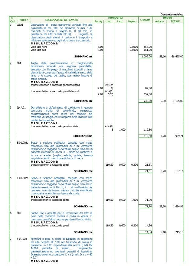 Computo metrico e elenco prezzi impianto geotermico andrano - Impianto elettrico casa prezzi ...