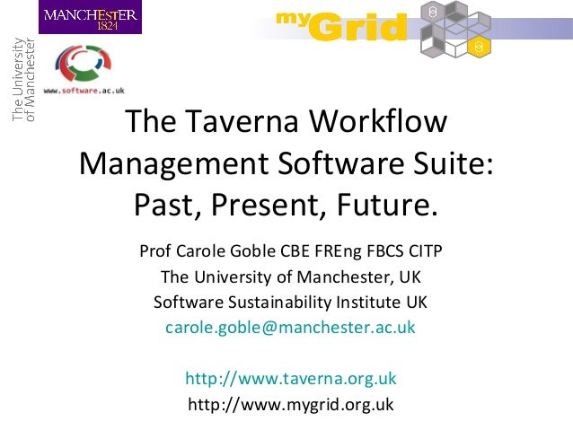 The Taverna Workflow Management Software Suite: Past, Present, Future. Prof Carole Goble CBE FREng FBCS CITP The Universit...