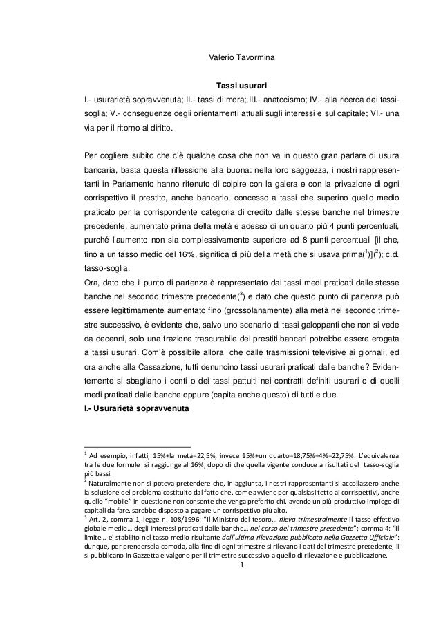 Valerio Tavormina Tassi usurari I.- usurarietà sopravvenuta; II.- tassi di mora; III.- anatocismo; IV.- alla ricerca dei t...