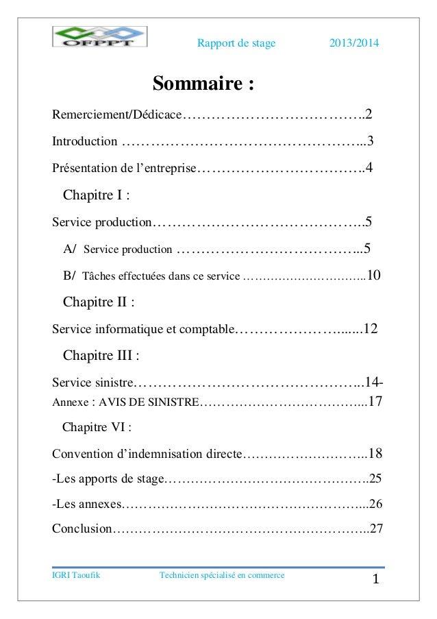 Rapport de stage assurance ascoba for Introduction rapport de stage cuisine