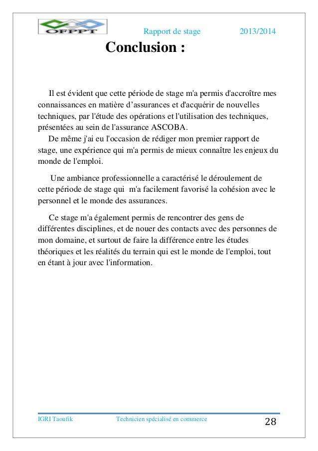 Rapport De Stage Assurance Ascoba