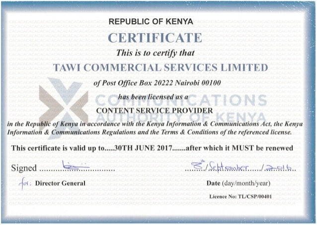 Tawi CA CSP License, 2016 - 2017