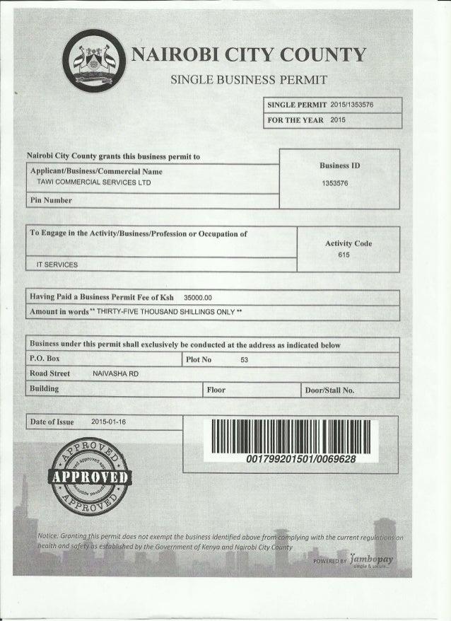 Tawi Nairobi City County License 2015