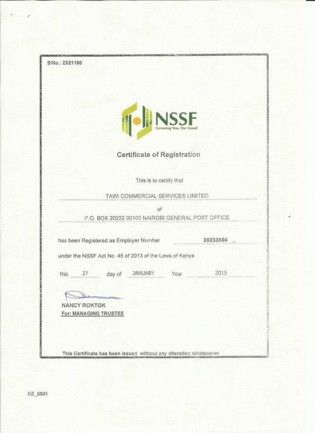 Tawi NSSF Registration