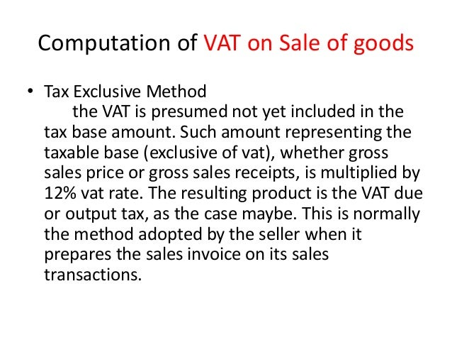 value added tax  taxable sales  philippines