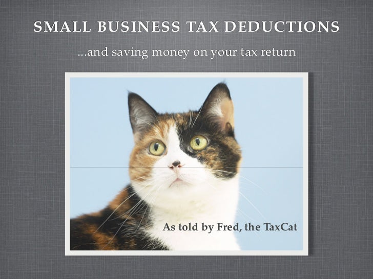 SMALL BUSINESS TAX DEDUCTIONS    ...and saving money on your tax return                  As told by Fred, the TaxCat