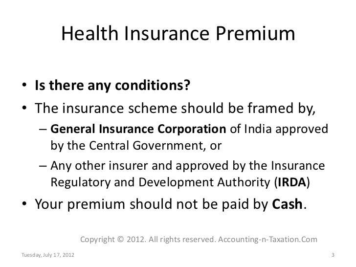 Income Tax Deductions - Health Insurance Premium