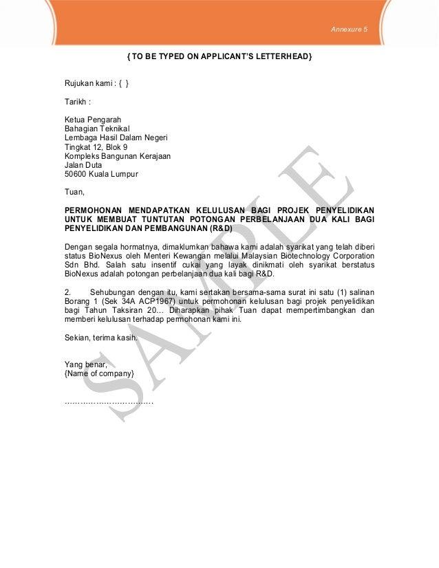Surat Rasmi Rayuan Income Tax Surasm