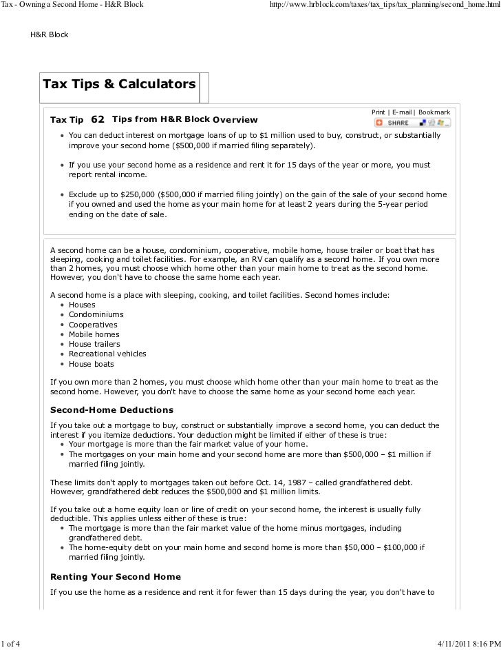 Tax owning a second home - h&r block