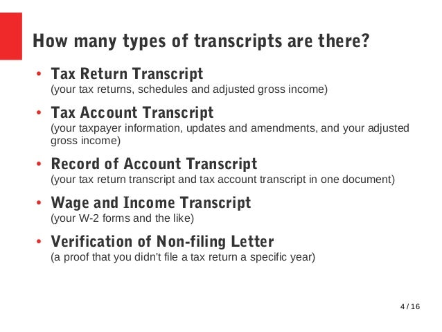 Tax Transcripts FAQ