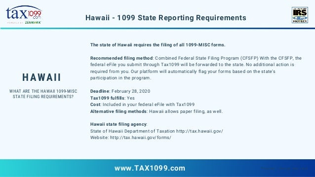 1099 form hawaii  Form 16 State Filing Requirements - 16-MISC Deadlines ...
