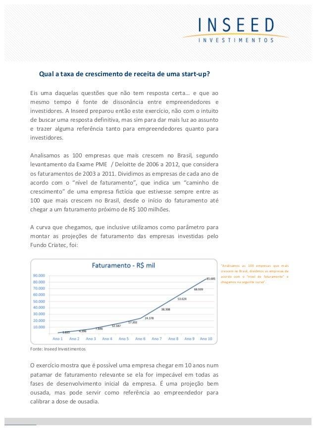 1    INSEED INVESTIMENTOS    l   Qual a taxa de crescimento de receita de uma s...