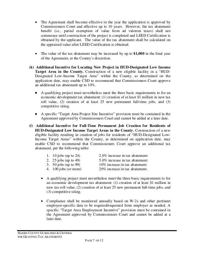 Tax Abatementguidelines Hcad