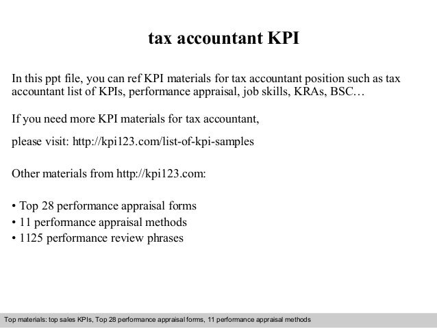 Tax accountant kpi