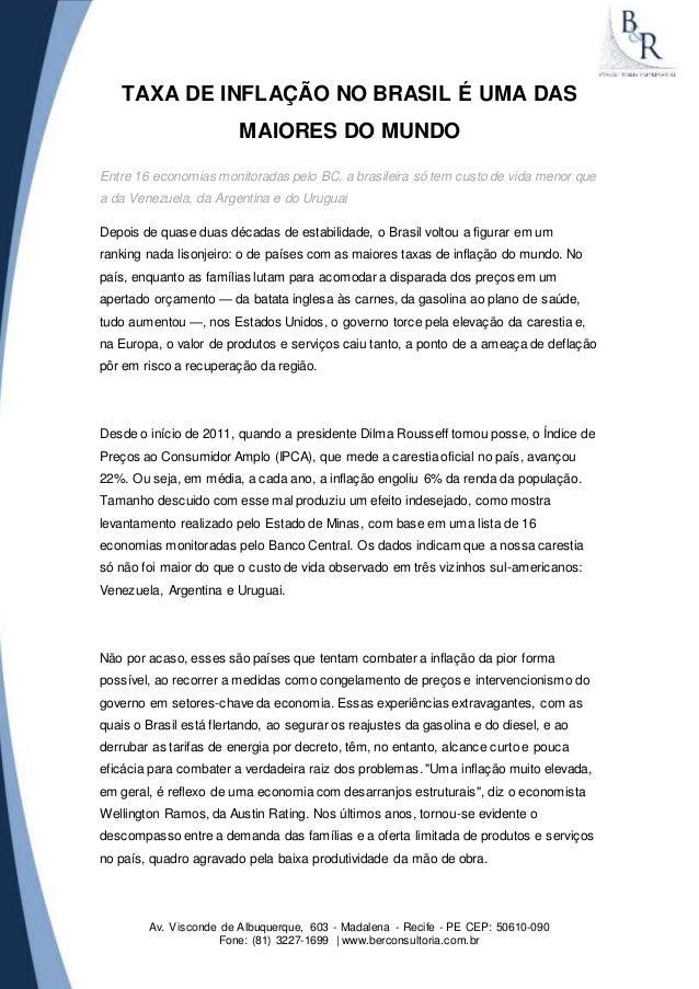 TAXA DE INFLAÇÃO NO BRASIL É UMA DAS  MAIORES DO MUNDO  Entre 16 economias monitoradas pelo BC, a brasileira só tem custo ...