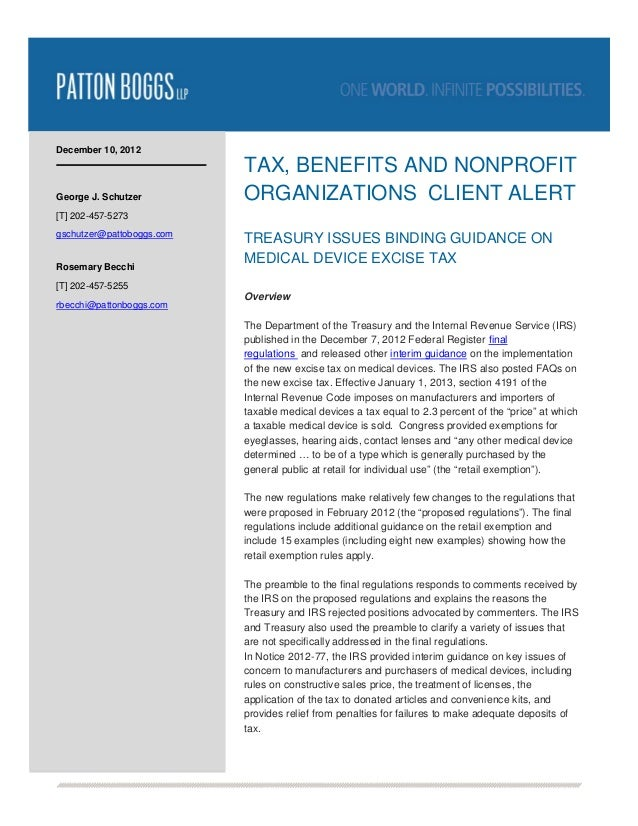 December 10, 2012                           TAX, BENEFITS AND NONPROFITGeorge J. Schutzer         ORGANIZATIONS CLIENT ALE...