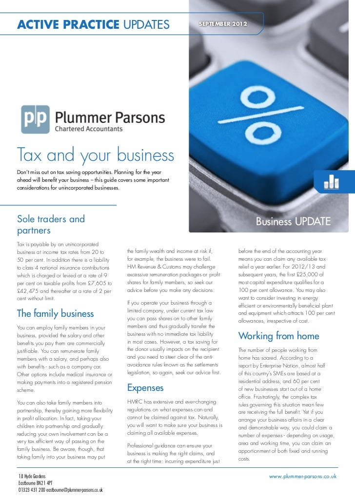 ACTIVE PRACTICE UPDATES                                                             SEPTEMBER 2012Tax and your businessDon...