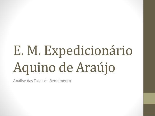 E. M. Expedicionário Aquino de Araújo Análise das Taxas de Rendimento