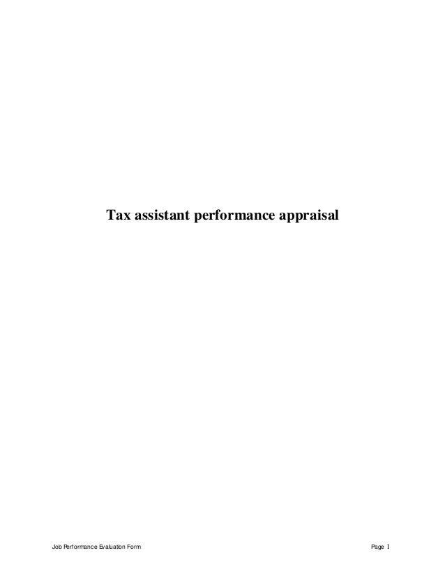 job performance evaluation form page 1 tax assistant performance appraisal tax assistant