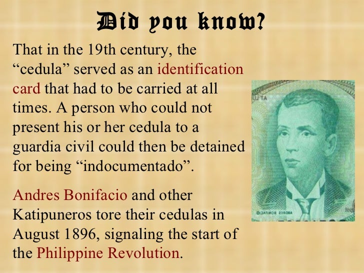 """That in the 19th century, the """"cedula"""" served as an  identification card  that had to be carried at all times. A person wh..."""