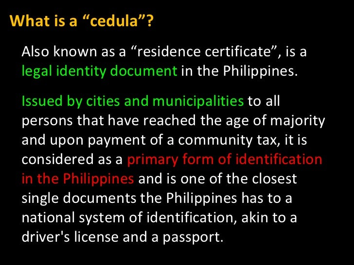 """Also known as a """"residence certificate"""",  is a  legal identity document  in the Philippines.  Issued by cities and municip..."""