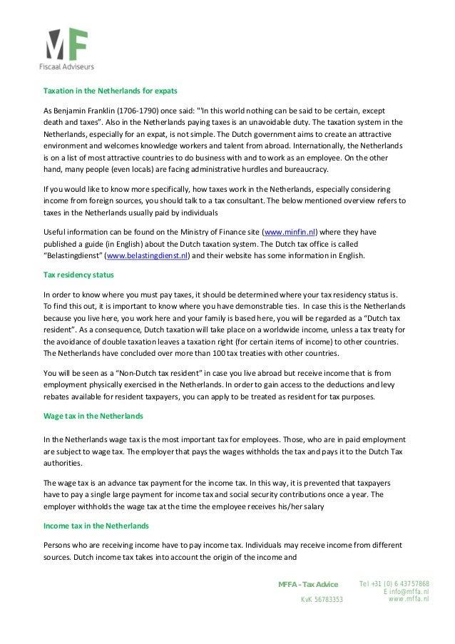 Tel +31 (0) 6 43757868 E info@mffa.nl www.mffa.nl MFFA – Tax Advice KvK 56783353  TaxationintheNetherlandsforexpat...