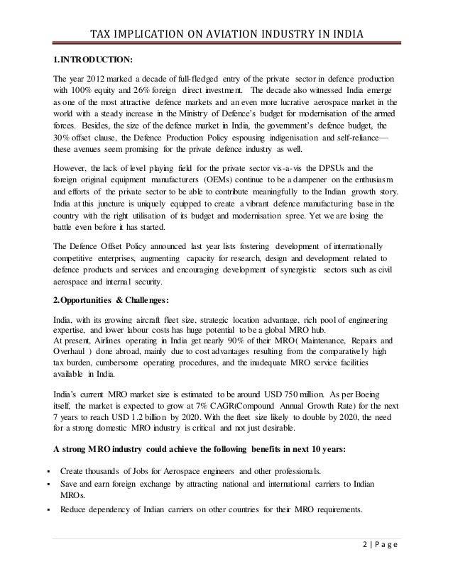 Taxation under avA DETAILED ANALYSIS ON TAX IMPLICATION IN INDIAN AVIATION INDUSTRYiation industry Slide 2